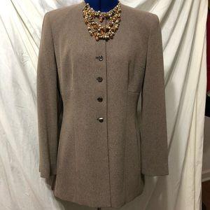 Jackets & Blazers - Brown collarless hip length jacket